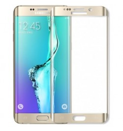 Lenktas auksinės spalvos apsauginis grūdintas stiklas Samsung Galaxy S6 Edge Plus telefonui