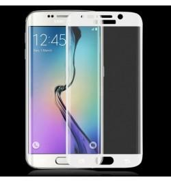 Lenktas baltas apsauginis grūdintas stiklas Samsung Galaxy S6 Edge telefonui
