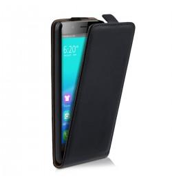 """Juodas atverčiamas dėklas Huawei Honor 6 telefonui """"Telone Vertical POCKET"""""""