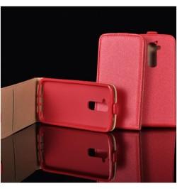 """Raudonas atverčiamas dėklas Huawei Honor 6 telefonui """"Telone Vertical POCKET"""""""