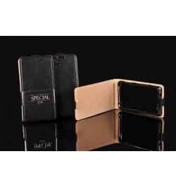 Iš viršaus atverčiamas tikros odos juodas dėklas Samsung Galaxy A3 telefonui