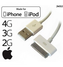 APPLE IPHONE 2G 3G 3GS 4G iPod Nano CLASSIC SHUFFLE USB KABELIS