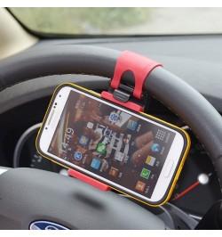 Juodas mažas universalus automobilinis telefono laikiklis ant vairo VEGA