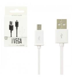 Baltas mikro USB kabelis VEGA Premium