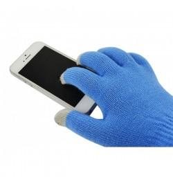 Mėlynos žieminės pirštinės išmaniesiems įrenginiams