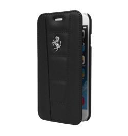 """Juodas atverčiamas dėklas iPhone 5/5S/5SE telefonui """"Ferrari"""""""