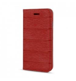 Raudonas dėklas Smart Book Samsung Galaxy J500 telefonui