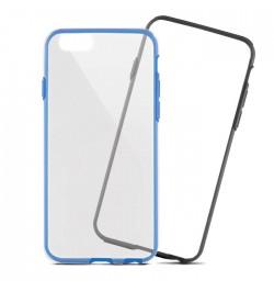 Aliuminio ir silikono dėklas trys viename iPhone 5/5s/5se telefonui juodas/mėlynas