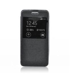 """Atverčiamas juodas dėklas Samsung Galaxy S6 Edge telefonui """"S-View Flexi"""""""