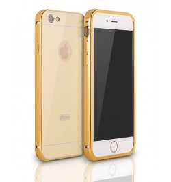Elegantiškas aliuminis dėklas Alu bumper mirror Huawei P8 telefonui (auksinis)