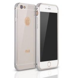 """Sidabrinis aliuminis dėklas Samsung Galaxy Grand Prime telefonui """"Alu bumper mirror"""""""