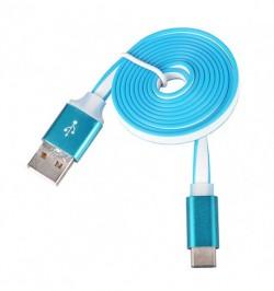 MicroUSB mėlynas kompiuterinis laidas su metaline jungtimi