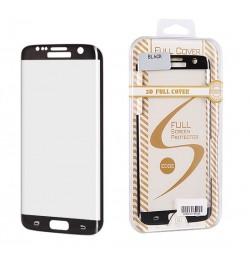 Juodas apsauginis grūdintas stiklas 3D FULL COVER Edge Black Samsung Galaxy S6 Edge telefonui
