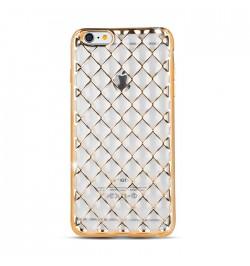 Silikoninis dėklas tinklelis Samsung Galaxy S6 / G920 telefonui (auksinis)