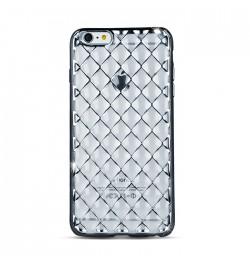 Silikoninis dėklas tinklelis iPhone 5/5S/SE telefonui (sidabrinis)