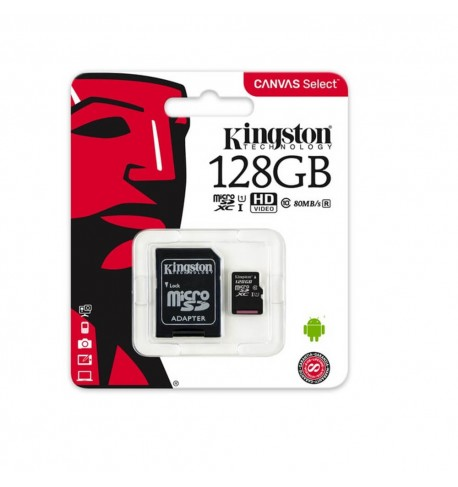 Kingston memory card microSDXC 128 GB, UHS-I, class 10 with adapter